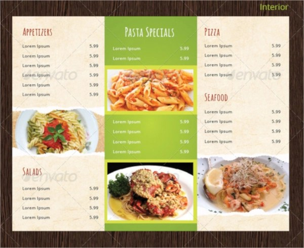folding menu templates - Romeolandinez - Sample Pizza Menu Template