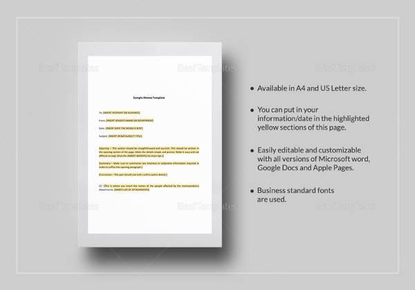 Sample Memo - 29+ Documents in PDF, Word - formal memo template
