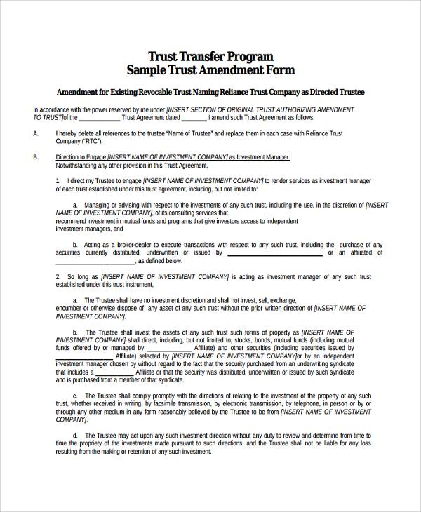 Sample Trust Amendment Form - 7+ Free Documents Download in PDF - contract amendment template