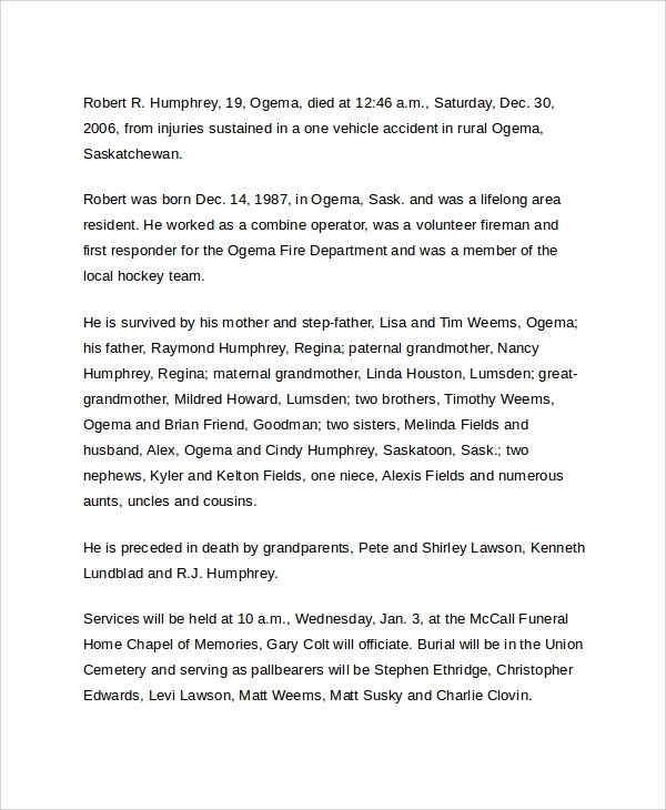 Sample Death Obituary Templates - Free Documents Download in PDF, Word
