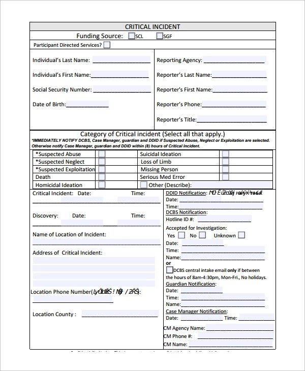 10+ Incident Reporting Forms Sample Templates