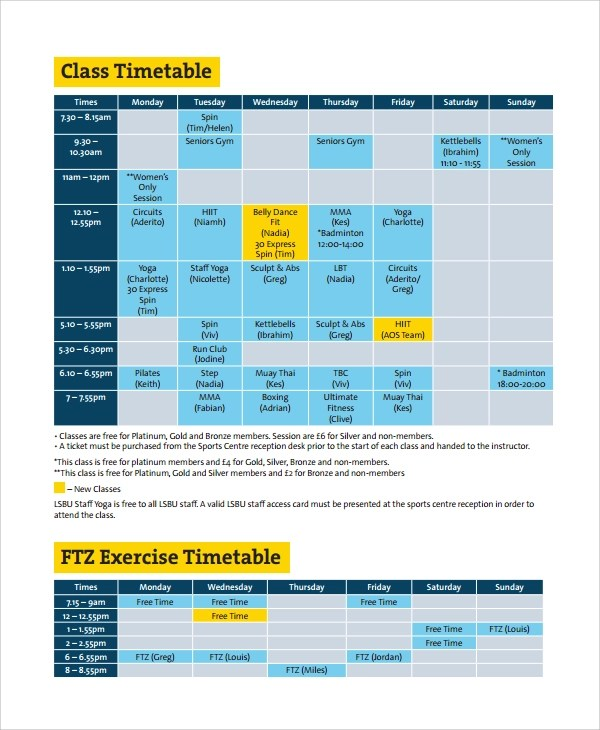 10+ Class Timetable Templates Sample Templates - sample schedules - class schedule