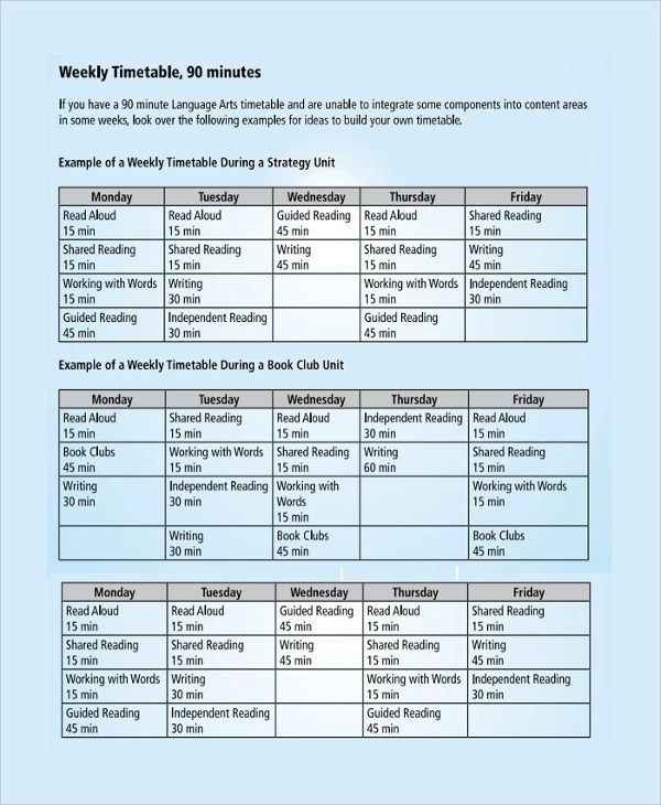 Sample Weekly Timetable Template - 9+ Free Documents Download in PDF