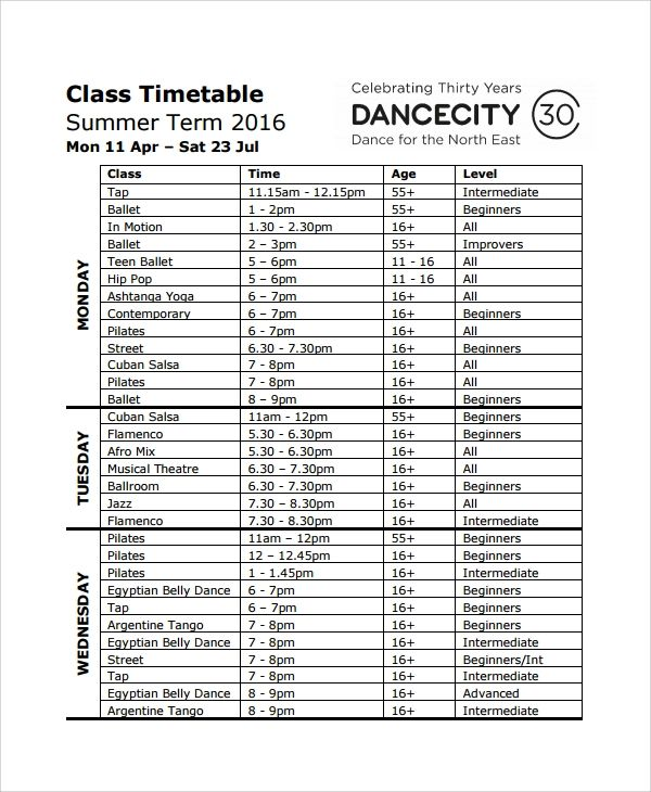 timetable word template