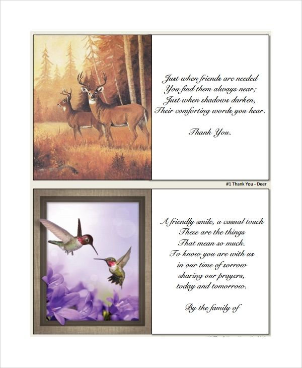 bereavement thank you notes