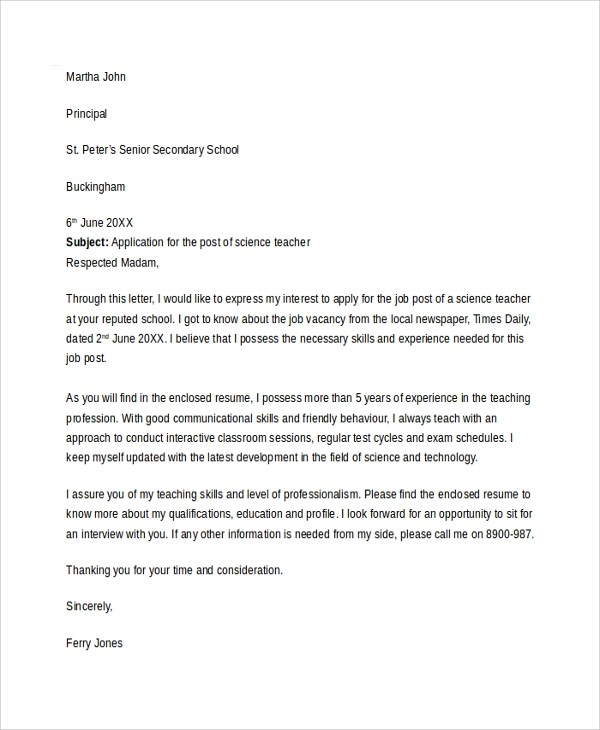 20+ Cover Letter Templates Sample Templates - teacher cover letter template