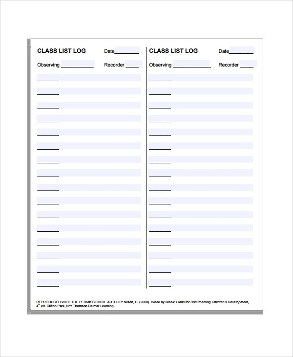 Roster Template Sample Class List Template Free Documents Download - class list template