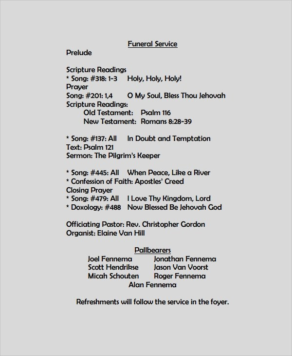 Sample Funeral Program Format Template - 6+ Free Documents Download