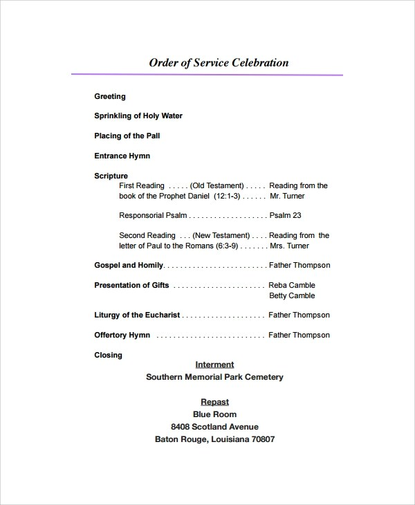 ... Sample Funeral Program Format Template   6+ Free Documents   Father Funeral  Program Template ...