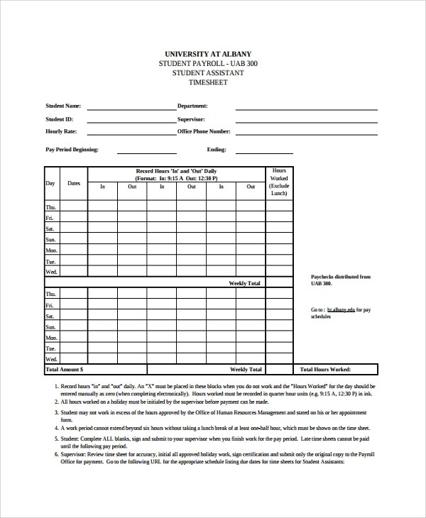 Blank Weekly Timesheet Template  Lease Agreement Ohio Pdf