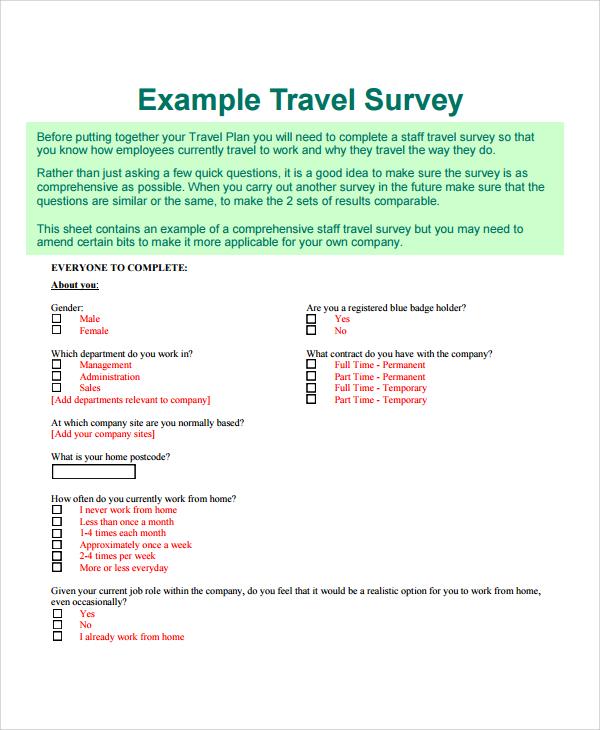 Product Survey Templates Travel Survey Questionnaire ~ Travel Survey