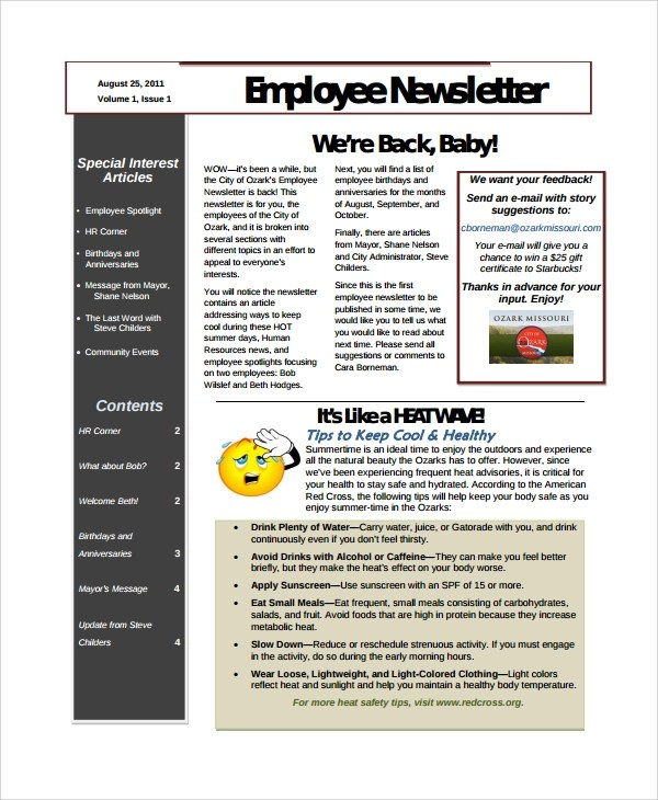 10+ Employee Newsletter Templates Sample Templates