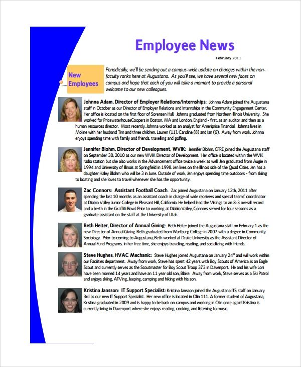 free employee newsletter templates