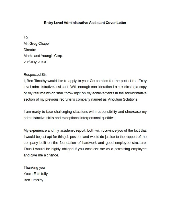 Sample Cover Letter For Administrative Assistant Job Application