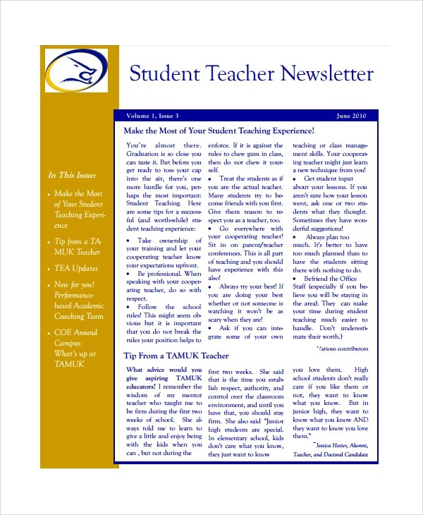 7+ Teacher Newsletter Templates Sample Templates - weekly newsletter template