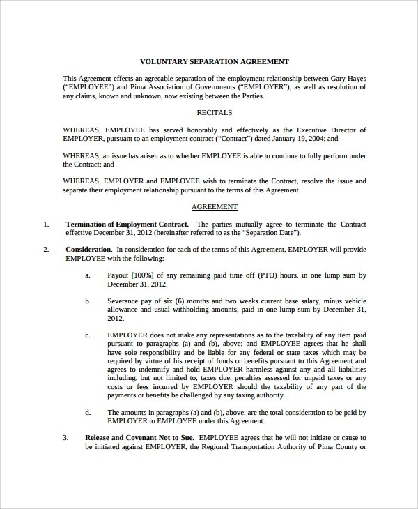 Sample Employment Separation Agreement - 11+ Free Documents Download