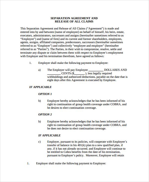 employment release agreement hitecauto - employment separation agreement