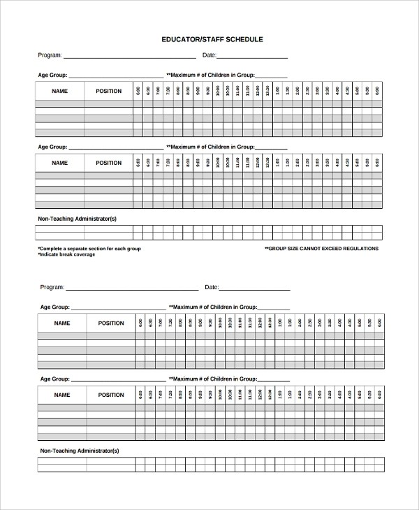 8+ Staff Schedule Templates Sample Templates - staff schedule template