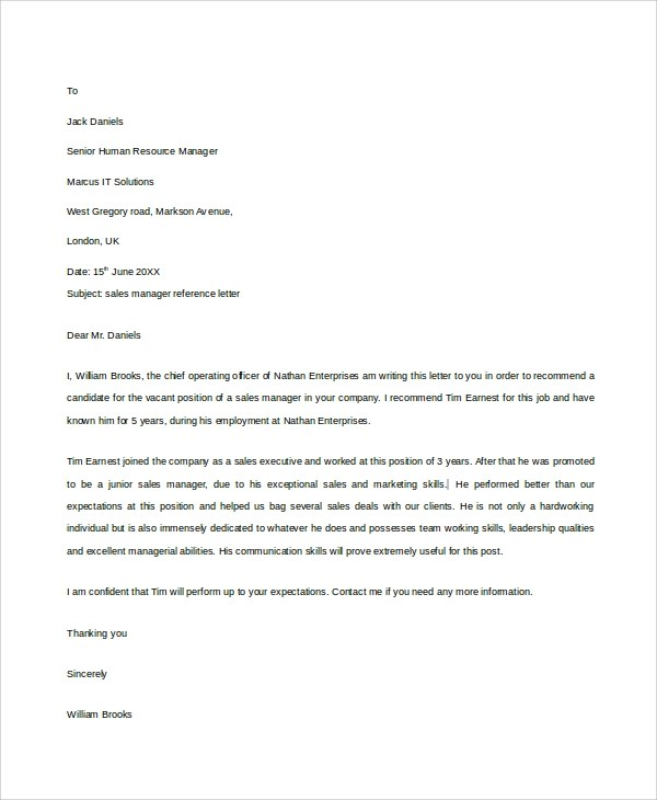 Sample Reference Letter - 19+ Free Documents Download in Word, PDF - manager reference letter