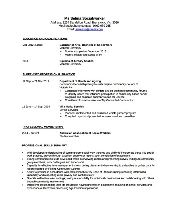 Sample Social Worker Resume Template - 9+ Free Documents Download in