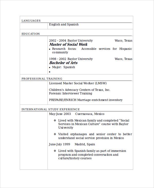 sample resume for social worker
