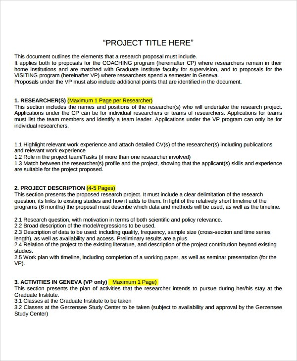 Proposal Sample Doc Project Proposal Doc Format Free Download
