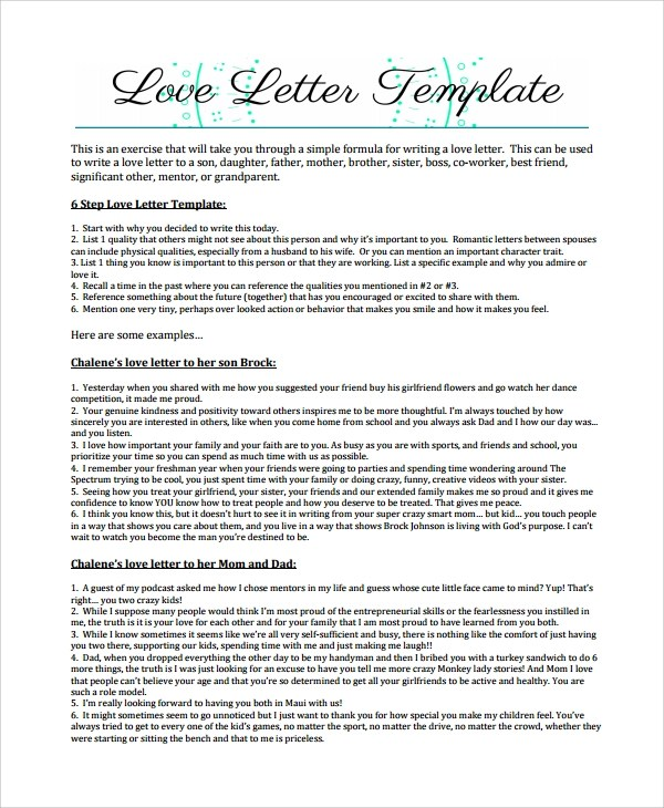 Sample Love Letter - 18+ Free Documents Download in Word, PDF