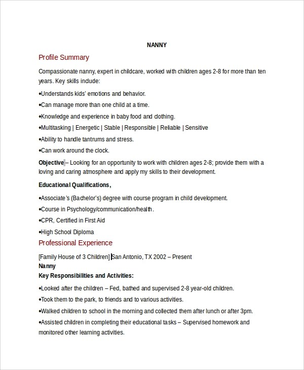 sample nanny resume template 6 free documents download in pdf