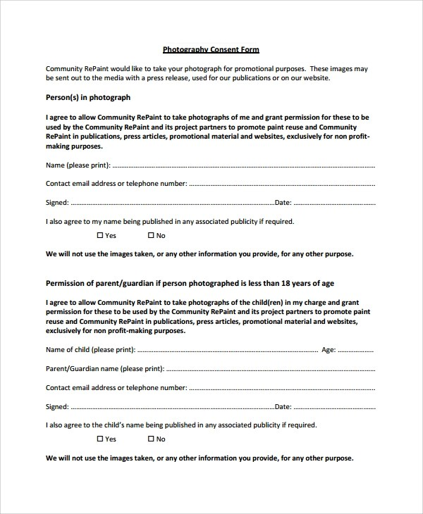 Sample Photography Consent Form - 9+ Free Documents Download in Word
