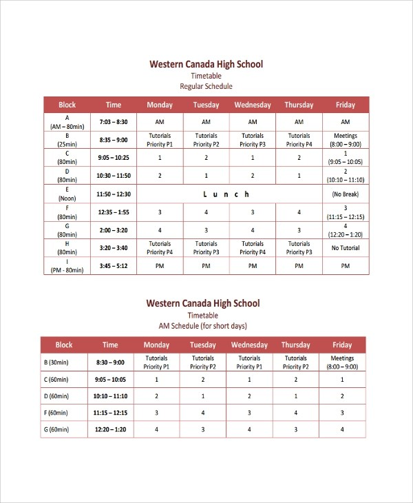 10+ Daily Timetable Templates Sample Templates - class timetable template