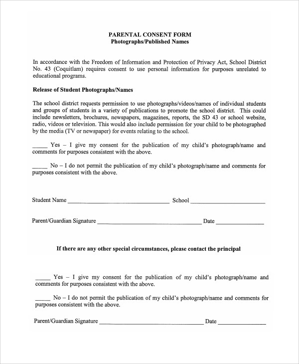 Sample Photography Consent Form - 9+ Free Documents Download in - parent release form
