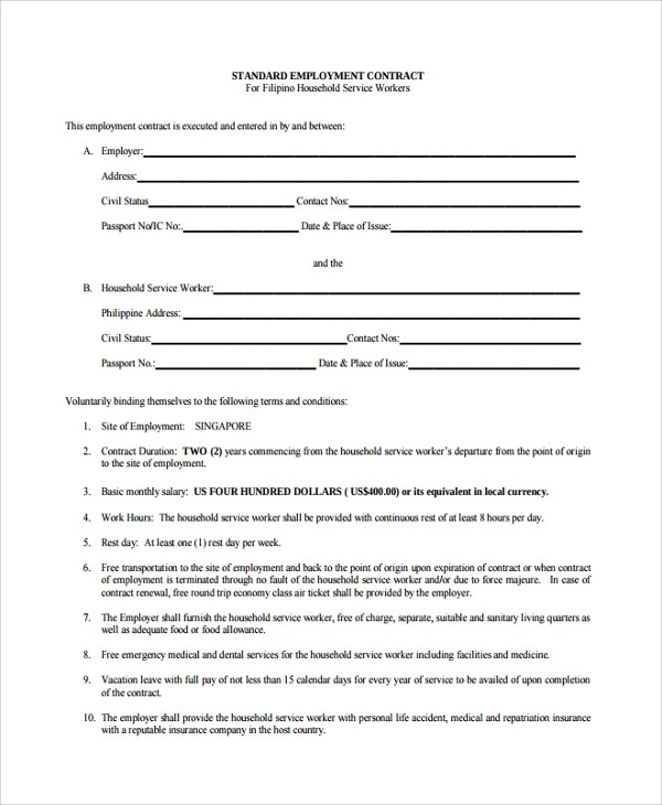7+ Employment Contract Forms Sample Templates - labour contract template