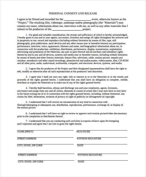 Release Forms For Interviews | Employment Contract Letter Format