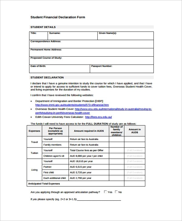 Sample Financial Declaration Form - 7+ Free Documents Download in