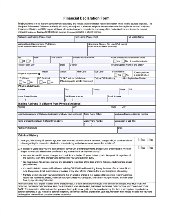 8+ Financial Declaration Forms Sample Templates