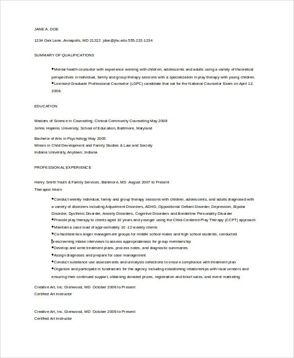 9+ Guidance Counselor Resume Templates Sample Templates