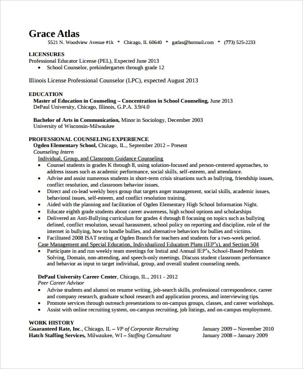 9+ Guidance Counselor Resume Templates Sample Templates - elementary school counselor resume