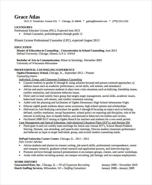 sample resume for professional counselor