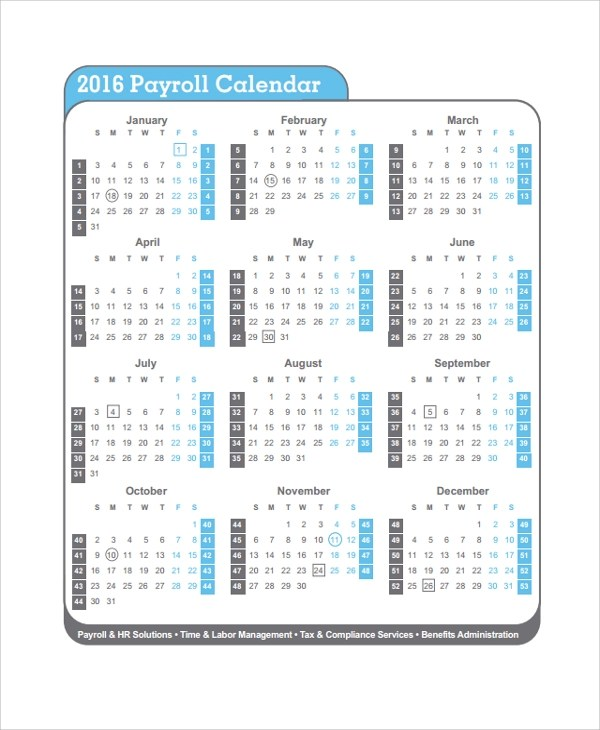 Sample Payroll Calendar Template - 9+ Free Documents Download in PDF