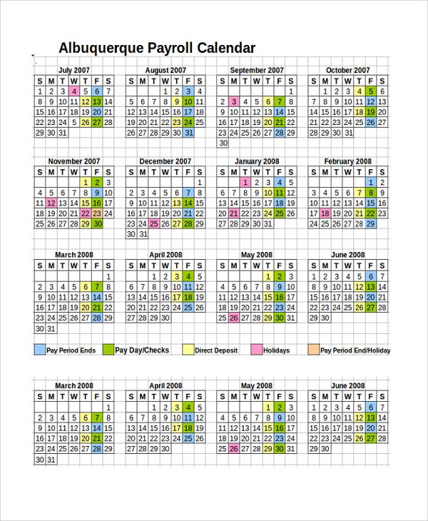 10+ Payroll Calendar Templates Sample Templates