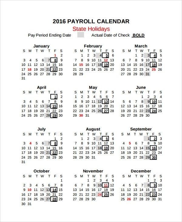 10+ Payroll Calendar Templates Sample Templates - payroll calendar template