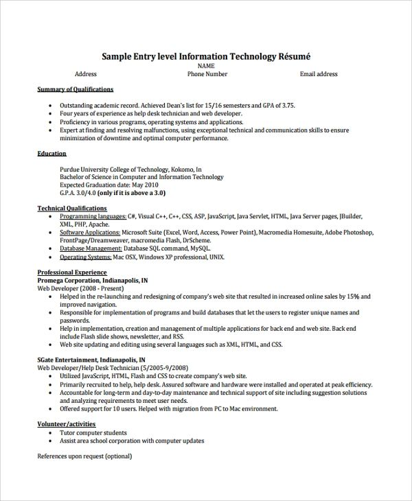 entry level help desk technician sample resume
