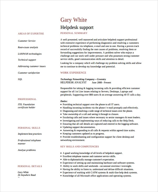 9+ Help Desk Technician Resume Templates Sample Templates - Entry Level Help Desk Resume