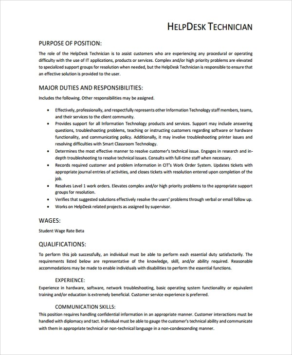 Help Desk Technician Resume Template - 8+ Free Documents Download in