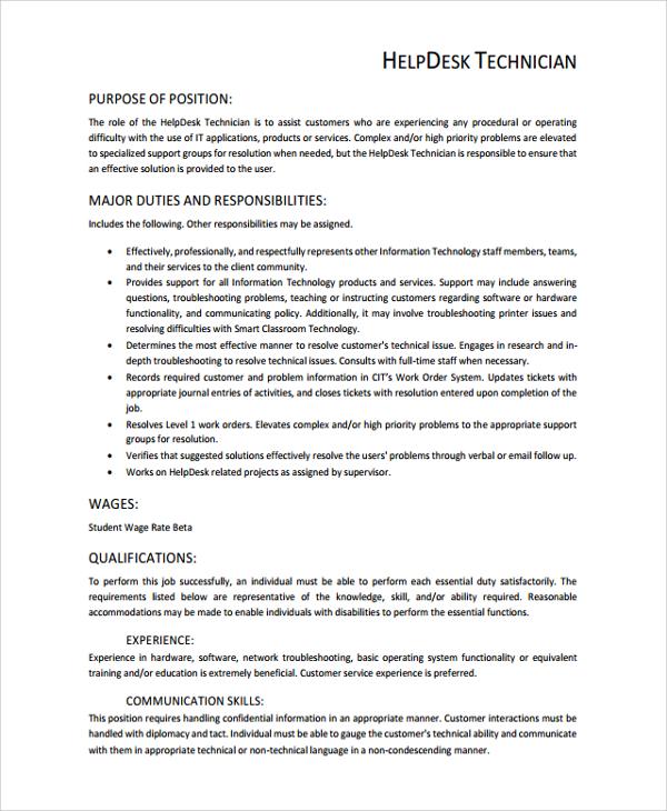 sample help desk resume objectives