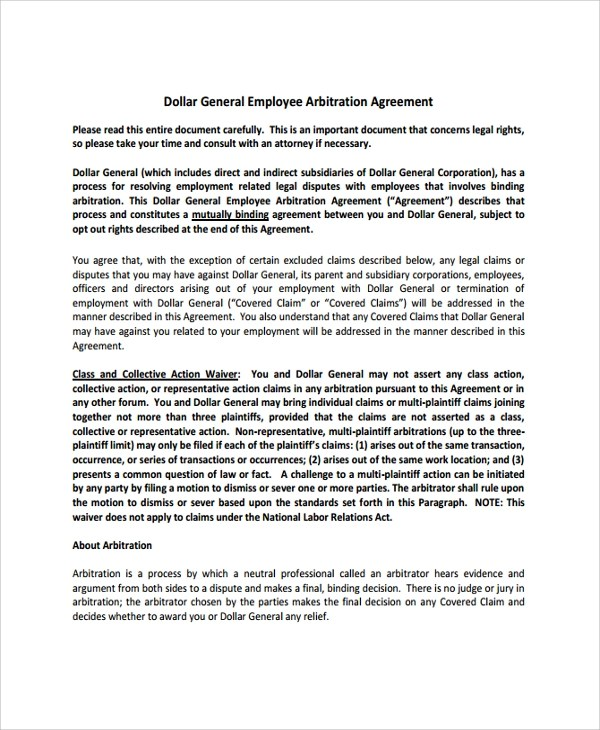 Sample Employment Arbitration Agreement - 8+ Free Documents Download