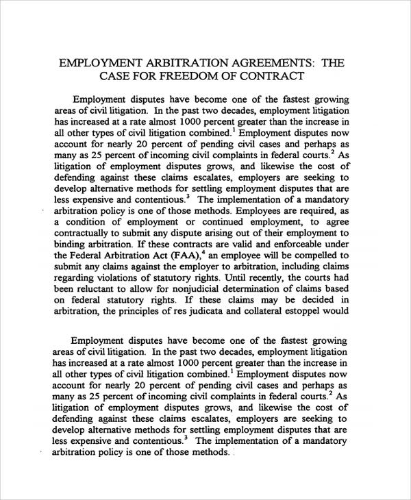 Employment Arbitration Agreement nfcnbarroom