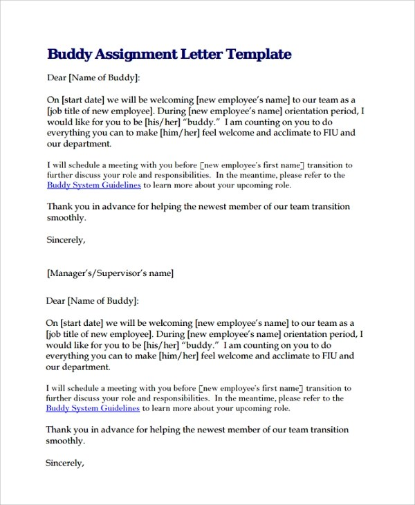 10+ Assignment Letters Sample Templates - assignment letter