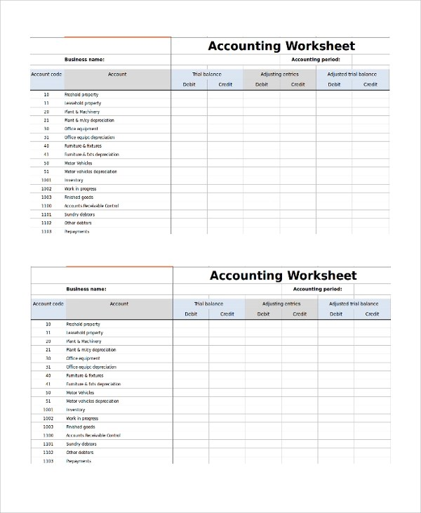 9+ Accounting Worksheet Templates Sample Templates