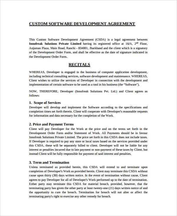 10+ Software Development Agreement Templates Sample Templates